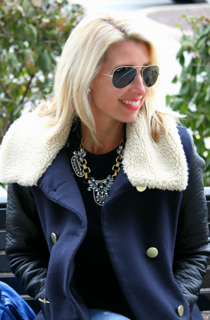 coat and necklace